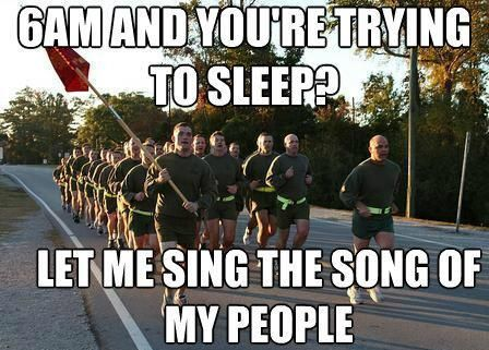 LOL! True. Reminds me of both ROTC running by my dorm in college & when we have lived on base. #millife