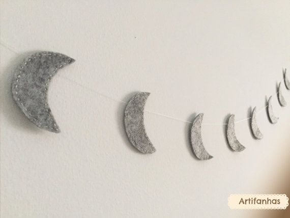 Moons Garland Night decor Nursery decoration Space theme Modern decor Goodnightbanner Kids room decor Baby shower Outerspace Children decor