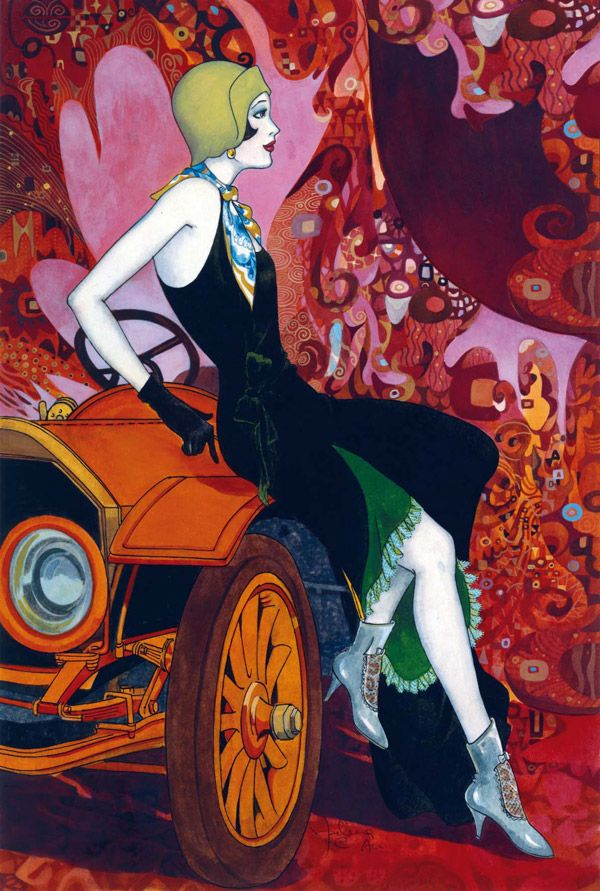 Art Deco flapper with great boots and cool car!