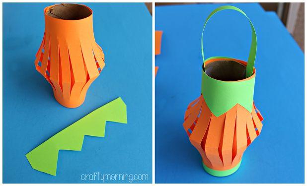 pumpkin toilet paper roll lantern
