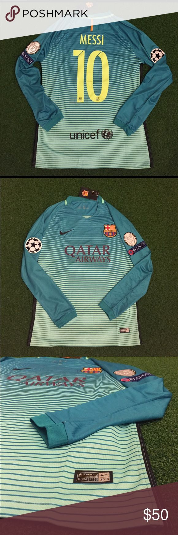 MESSI Barcelona Soccer Jersey Champions League #10 I have men's adult sizes: small, medium, large, extra large (XL) ...Brand new with tags. Fast shipping. Blue/Green third / 3rd jersey 2016/2017 LIONEL MESSI #10 Barcelona soccer jersey Long sleeve #10. I have other jerseys available and socks and shorts as well, just ask! Tags: uniform, top, Futbol, kit, Argentina, Barca, Fcb, football.     CHAMPIONS LEAGUE 2016/2017 Shirts Tees - Long Sleeve