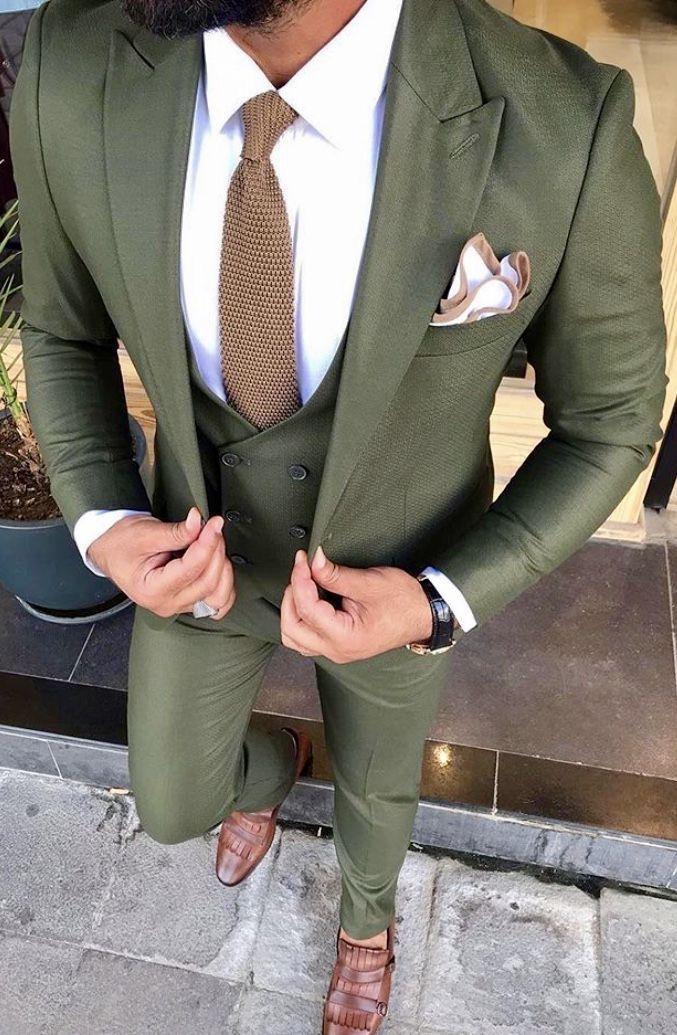 Men Suit Business Suit Three-Piece Suit Trim Groom British Plaid Wedding Custom