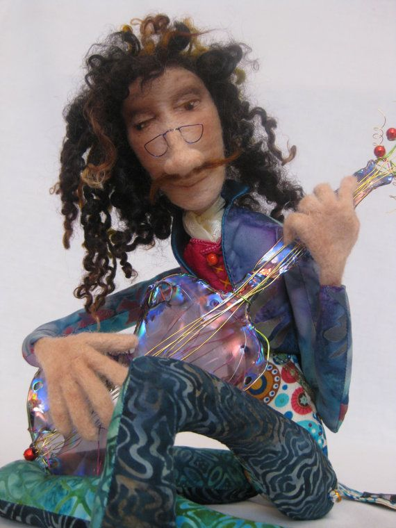 AVAILABLE; OOAK needle felted art doll figure guitar 'Serenade'