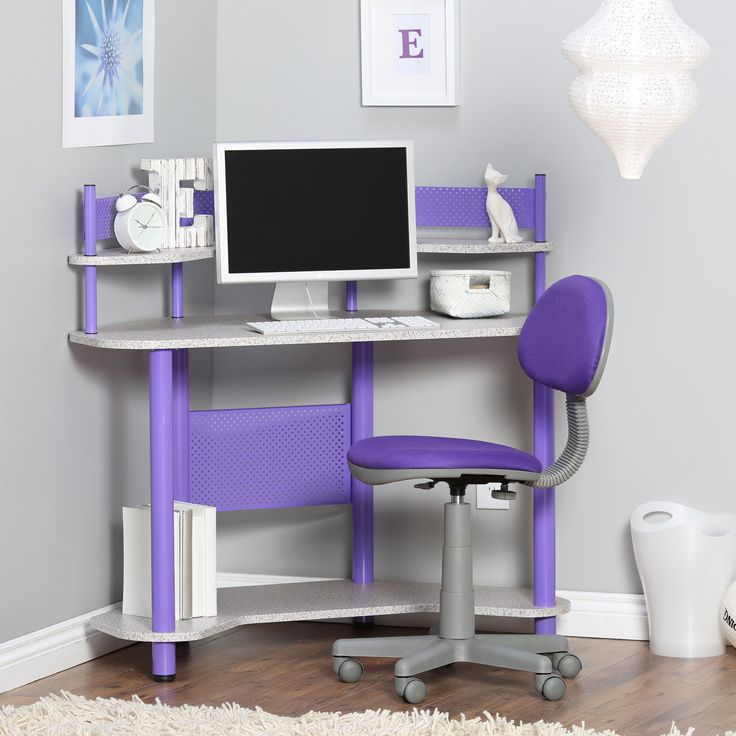 Studio Designs Study Corner Desk - Purple - Keep them focused and on task with the Studio Designs Study Corner Desk - Purple . Built from durable metal and laminate, this chic corner desk is...
