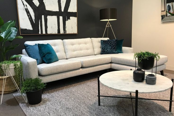 The Encore sofa range is made for you in the fabric, configuration and leg stain of your choice.   Styled here with the Elle pipe round marble coffee table and Maddox canvas art from urbanrhythm.com.au