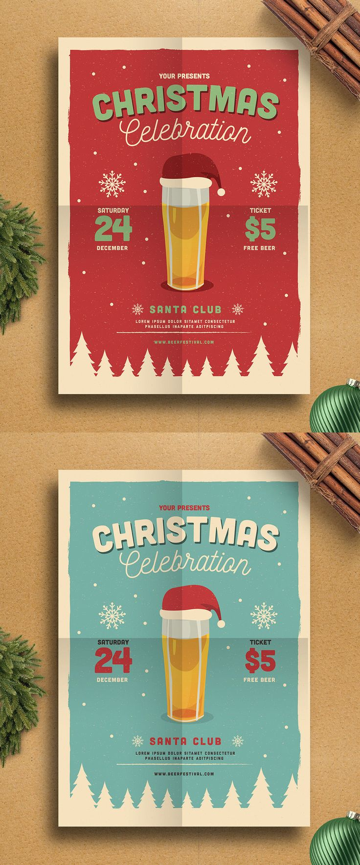 Christmas Beer Party Flyer Template AI, PSD