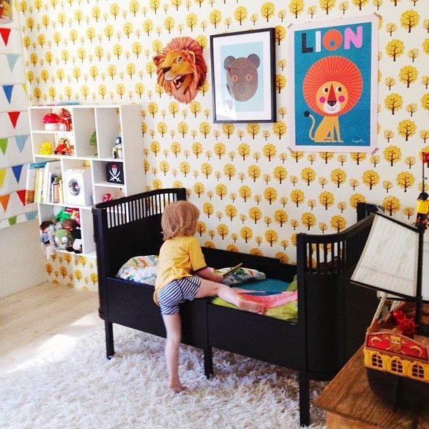 I love this happy tree wallpaper ... some of these are too sparse for my taste but all aesthetically pleasing.  the boo and the boy: eclectic kids' rooms