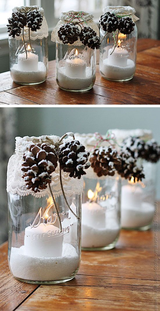 Pine Cone Candles | Click Pic for 30 DIY Christmas Gifts in a Mason Jar for Men | Easy Christmas Gifts in a Mason Jar