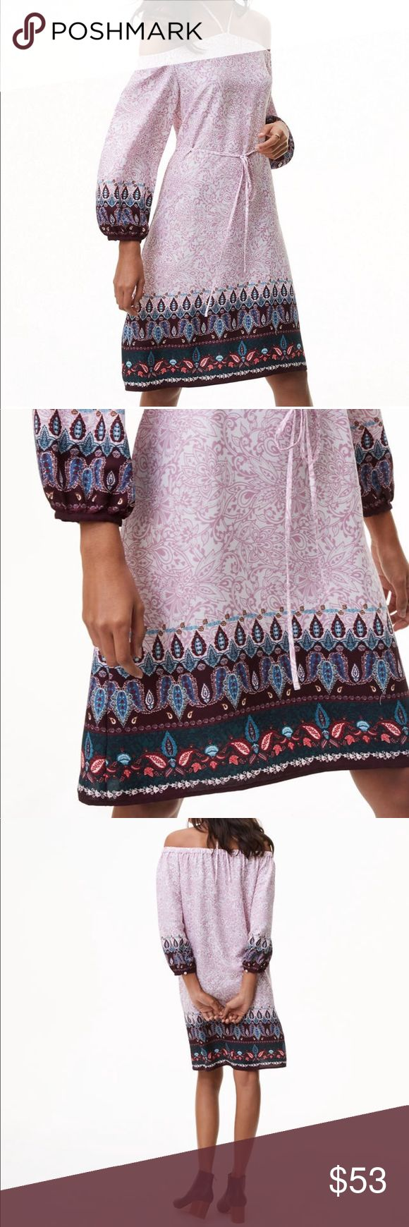 "LOFT💜Vine Paisley Off Shoulder Halter Dress 💜Bohemian styling💜Gorgeous all-over lavender paisley print💜Accented with plum, forest green & muted teal at cuffs & hem💜Elasticized off-shoulder neckline with halter ties💜3/4 blouson sleeves with elasticized cuffs💜Removable waist tie💜20"" Length from waist LOFT Dresses"