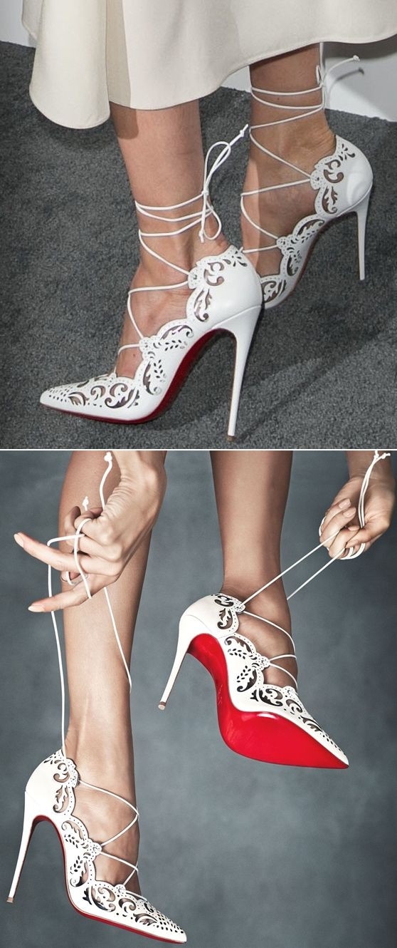 "A closer look at Michelle's ""Impera"" lace-up pumps from Christian Louboutin"