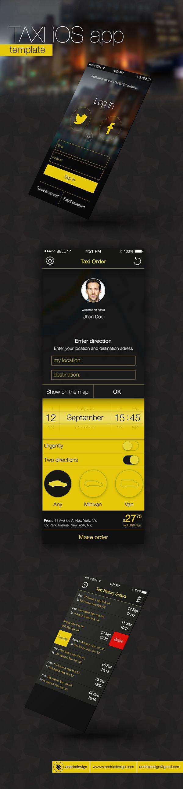 Taxi iOS app template on Behance