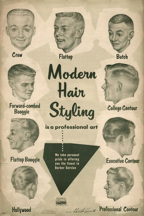 Men's modern hair styles, 1950s