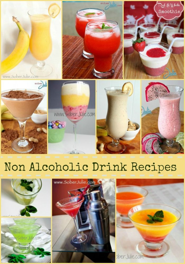My Top 10 Non Alcoholic Drink Recipes - @SoberJulie.com #drinkrecipe #mocktail #smoothie