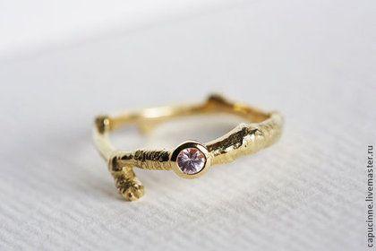 Сапфировое обручальное кольцо, Кольцо с розовым сапфиром - золотой,обручальные кольца