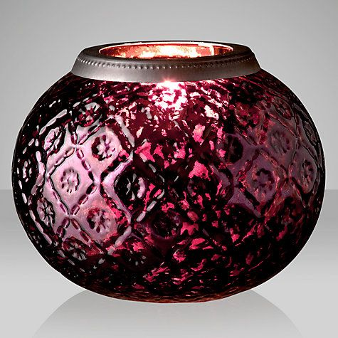 Buy John Lewis Bowl Lantern, Large, Mulberry Online at johnlewis.com