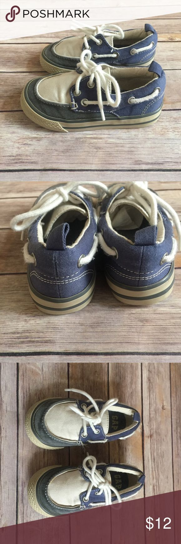 Baby Gap boat shoes Size 8 toddler boat shoes by Baby Gap in VGUC.  Blue and cream.  Perfect for spring. GAP Shoes