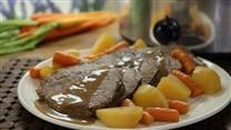 Slow cooker eye of round roast with potatoes, carrots, and celery cooks all day and will be a warm and comforting weeknight meal on busy days.
