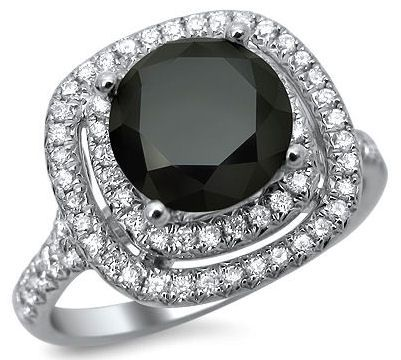 2.50ct Black Round Diamond Double Halo Ring 18k White Gold / Front Jewelers