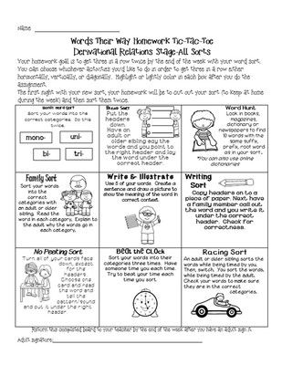 Words Their Way Homework for Syllables and Affixes and Derivational Relations