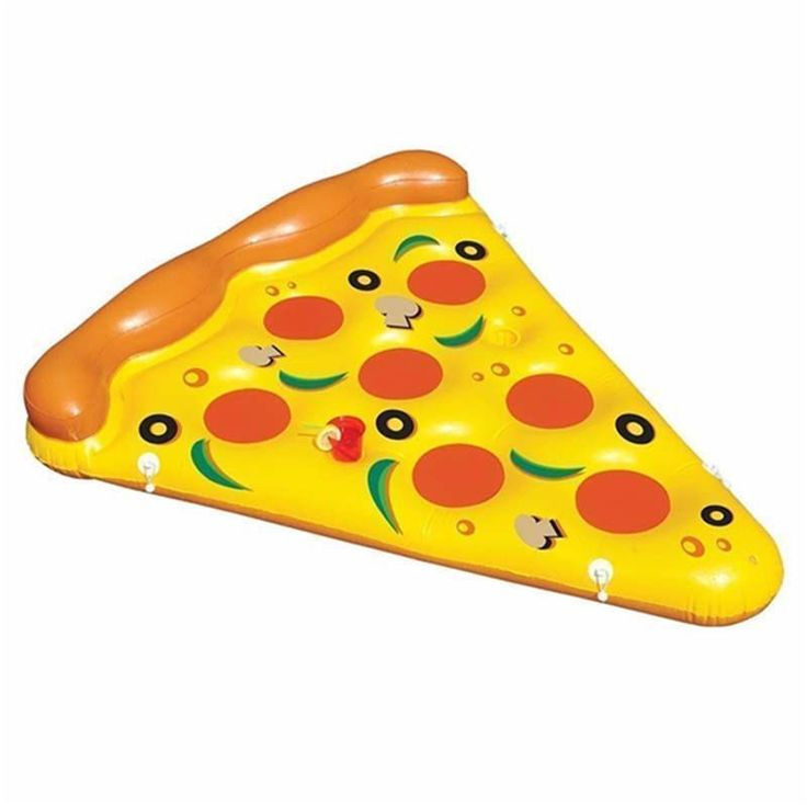 New Arival 180Cm Swimming Ring Air Mattress Swimming Pool Water Toy Giant Yellow Inflatable Pizza Slice Floating Bed Raft