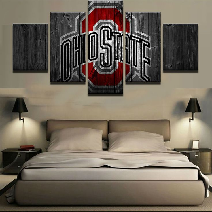 Large Framed Ohio State College On Canvas Barn Wood Style