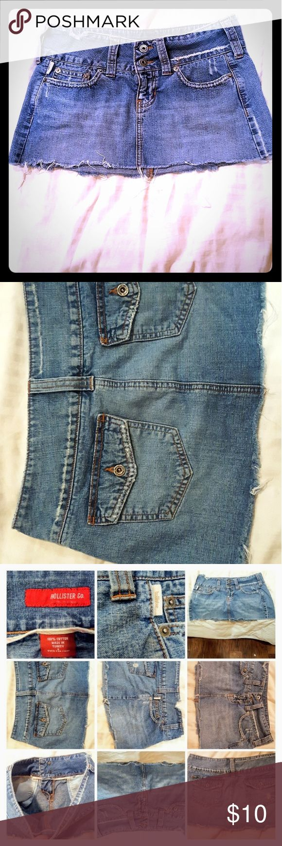 Cute butt, size 3*distressed Hollister skirt! Flattering, trendy distressed look. Super cute! Well made by Hollister. Size 3. 100% cotton. Does have some stretch.  Looks really cute on the butt 😘 Versatile. Can wear with a sweater and boots for winter/fall...very cute & styish look! 🤗 Hollister Skirts Mini