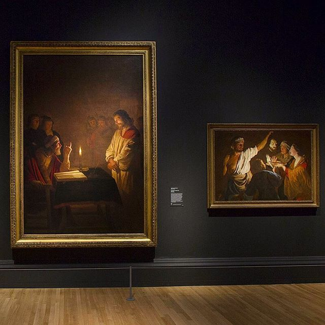 Will you be visiting #BeyondCaravaggio this weekend? In the final room of the exhibition you can stand before this large painting by the Dutch follower of Caravaggio Gerrit van Honthorst (left). In this work, 'Christ before the High Priest', lighting is manipulated by the artist to accentuate the drama of his subject. A single candle illuminates this simple scene, lending sharp contours to the priest's intense expression. However, the figure of Christ is lit more softly. The different…