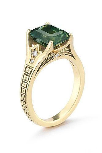 Marisa Perry Vintage Douglas Elliot Vintage Paige Emerald Cut Green Sapphire, price upon request, available at Marisa Perry.