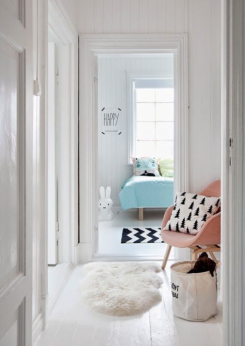 Monochrome chevrons & christmas tree print All white interior with candy coloured accents