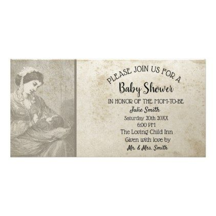 Antique Baby Shower Aged Rustic Mom & Child Card - rustic gifts ideas customize personalize