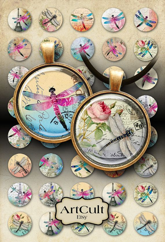 DRAGONFLIES - Digital Collage Sheet 1 inch size and 1.5 inch size circles Printable Images for pendants bezel cabs glass cabochons magnets