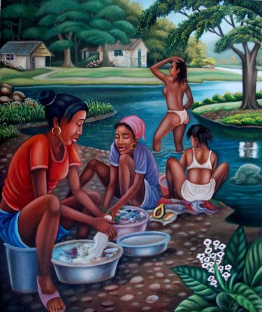 Everyday life of some Haitian women... Just love that painting
