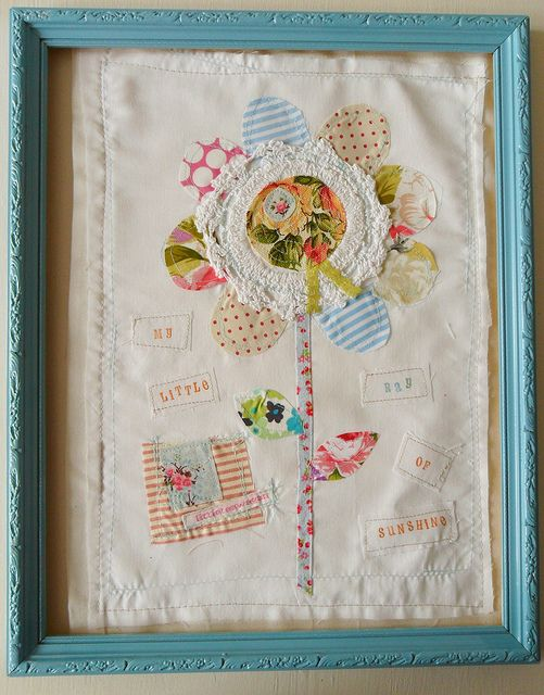 vintage fabric applique picture~ would be cute for the girls room