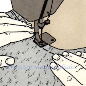 Costura a máquina. Costura de una curva