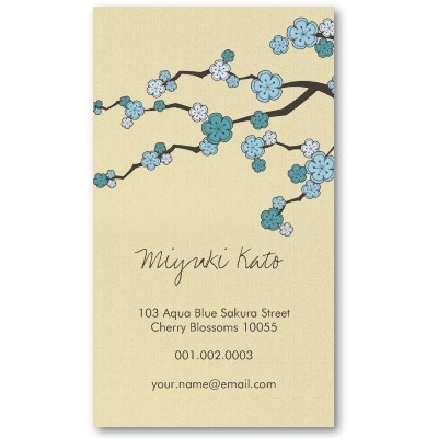Blue Sakura Oriental Zen Chinese Cherry Blossoms Business Cards by fatfatin