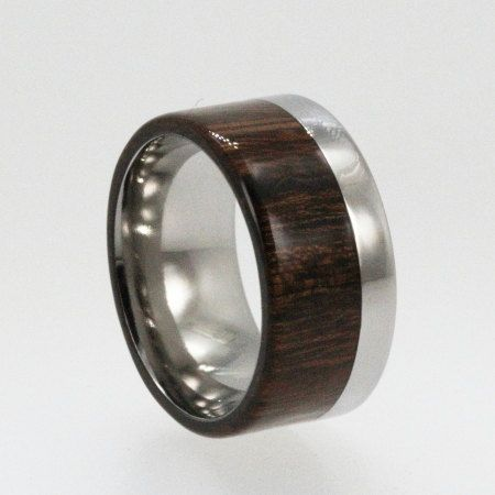 wooden ring titanium wedding band with desert ironwood two tone ring