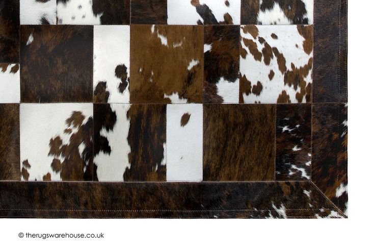 Geranovi Rug (texture close up), a brown & white cowhide leather rug handmade in Spain (6 set + custom sizes) http://www.therugswarehouse.co.uk/leather-rugs/geranovi-rug.html #luxury #rugs