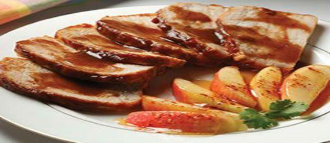 Lomo de cerdo glaseado con manzanas - Cocina y Vino