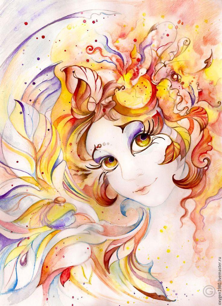 """Купить """"Осенняя фея"""" - разноцветный, осень, погода, природа, листья, цветы, весело, девушка, Рыжая"""