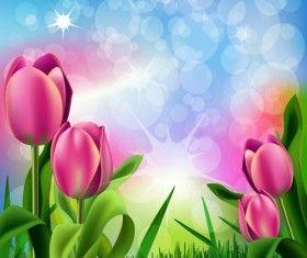 Wiosna kwiat piękne tła wektory 03