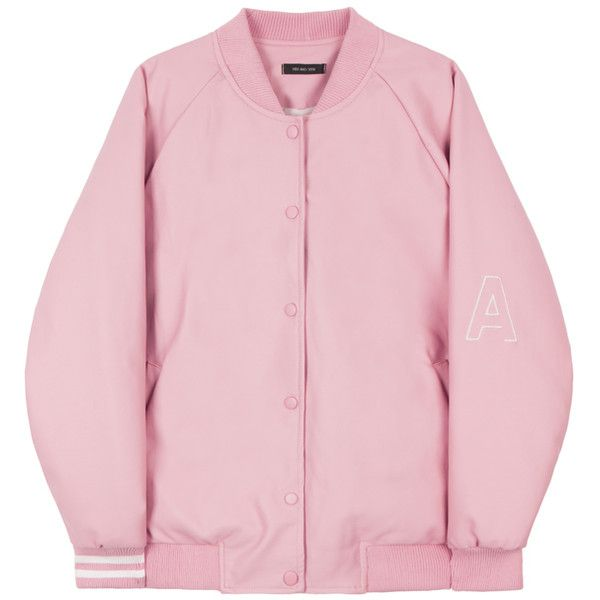 HIDE AND SEEKFaux Leather Varsity Jacket | MIXXMIX ($75) ❤ liked on Polyvore featuring outerwear, jackets, coats, varsity bomber jacket, pink letterman jacket, letterman jackets, letter jacket and real leather jacket