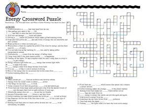 energy crossword puzzle worksheet hot resources for november pinterest crossword puzzles. Black Bedroom Furniture Sets. Home Design Ideas