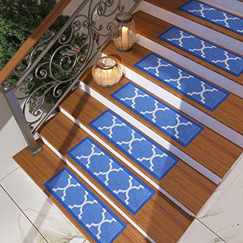 set of 7 blue stair tread rugs modern design trellis lattice carpet pads