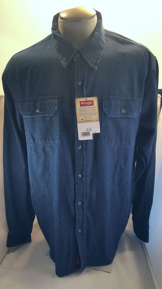 Wrangler Denim Shirt Cowboy Western XL Extra Large Button Front NWT Relaxed Fit