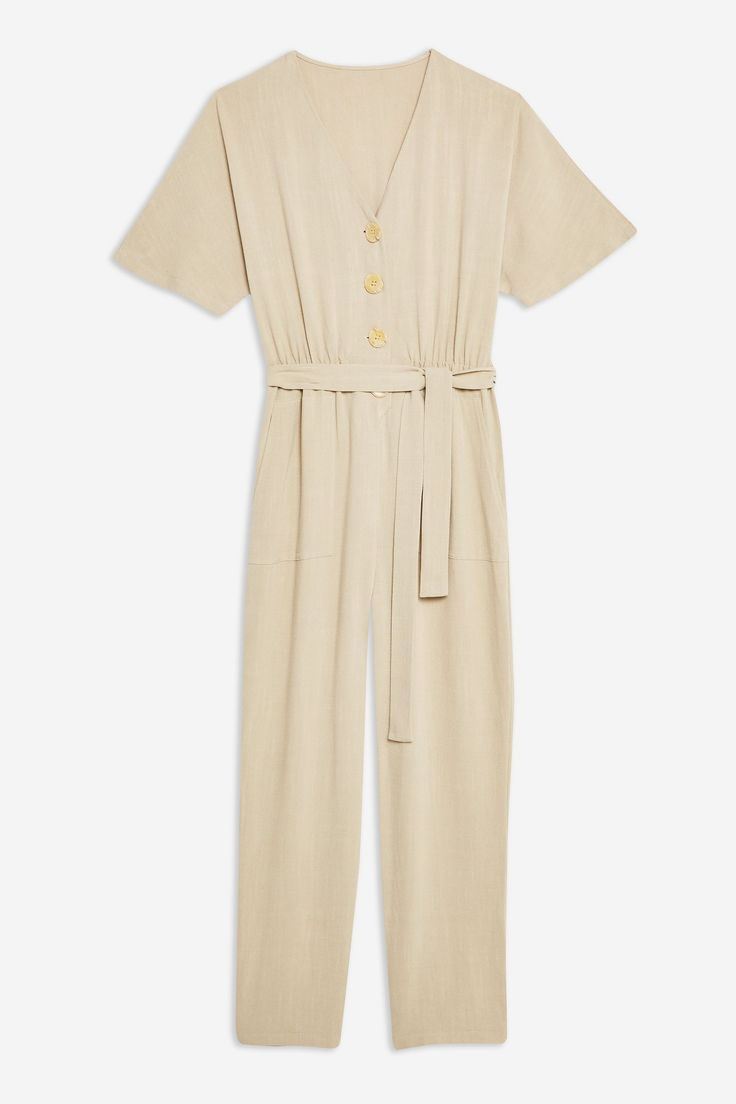 55ee458e74 Button Down Jumpsuit with Linen in 2019