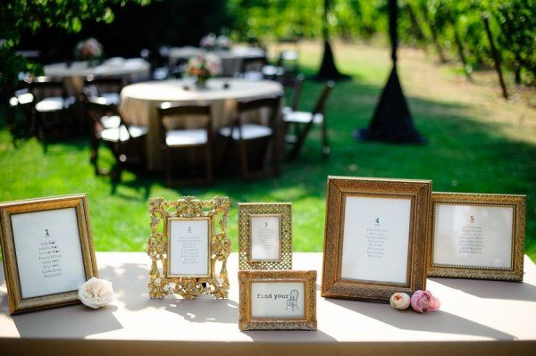 gold frames used to display seating assignments  Photography By / aaroncourter.com, Wedding Coordination By / champagnenw.com