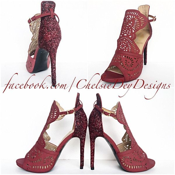 Burgundy High Heels Dark Red Glitter Heels Maroon Shoes Sparkly... ($96) ❤ liked on Polyvore featuring shoes, pumps, silver, women's shoes, silver pumps, red glitter shoes, silver evening shoes, wedding shoes and silver sparkle pumps