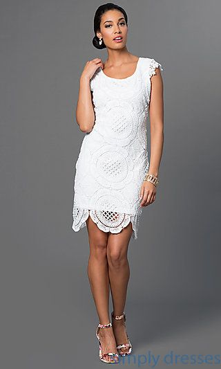 Shop little-white dresses and short party dresses at Simply Dresses. White rehearsal-dinner dresses and homecoming dresses with scalloped hems.