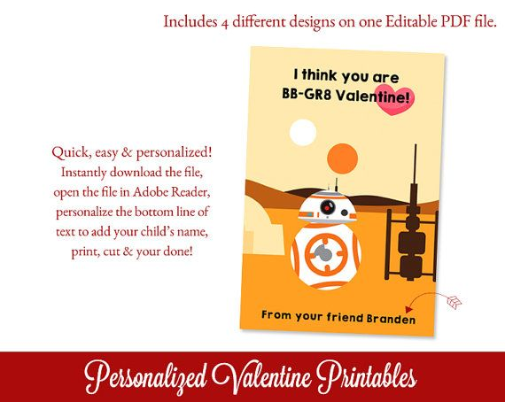 Star Wars Valentines Day Cards Valentine por SugarPickleParty