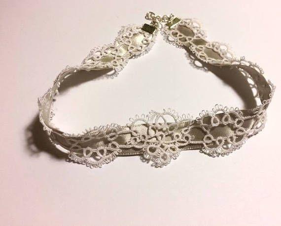 Bridal Lace Ribbon Choker White and Grey White and Silver